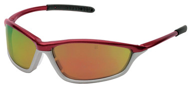 Crews Shock Safety Glasses ~ Crimson Frame with Fire Mirror Lens