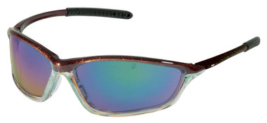Crews Shock Safety Glasses ~ Chameleon & Clear Chrome Frames ~ Emerald Mirror Lens