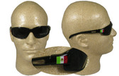 Wolverine (Dakura) Safety Glasses ~ Black Frame with Smoke Lens ~ And Mexican Flag Logo