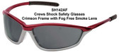 Crews Shock Safety Glasses ~ Crimson Frame ~ Fog Free Smoke Lens
