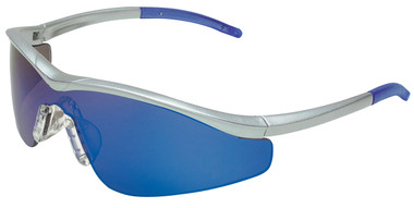 Crews Triwear Series Professional Grade ~ Steel Frame With Silver Cord ~ Blue Diamond Mirror Lens