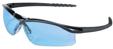Crews Dallas Safety Glasses ~ Black Frame ~ Light Blue Lens
