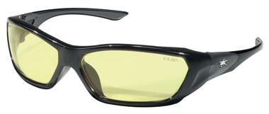Crews Force Flex Safety Glasses ~ Black Frame - Amber Lens