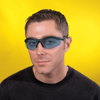 Crews Klondike Plus Safety Glasses ~ Black Frame, Ratchet Temple ~ Light Blue Lens