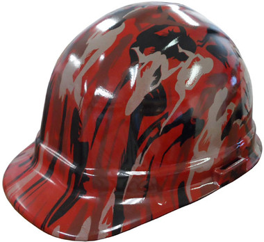 Camo Bootie Red Hydro Dipped Cap Style Hard Hat pic 1