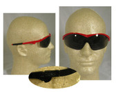Crews Storm Safety Glasses ~ Red Frame and Smoke Lens