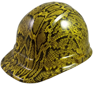 Snakeskin Yellow Hydro Dipped Hard Hats Cap Style