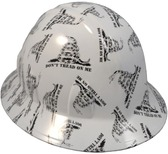 Don't Tread On Me White Hydro Dipped Hard Hats Full Brim Style