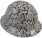 Snakeskin White Hydro Dipped Hard Hats Full Brim Style