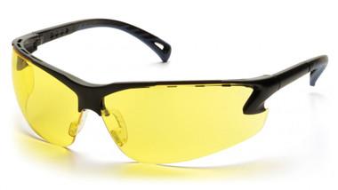 Pyramex Safety Glasses ~ VENTURE III ~ Black Frame ~ Amber Lens