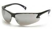 Pyramex Safety Glasses ~ VENTURE III ~ Black Frame ~ Silver Mirror Lens