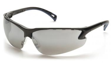Pyramex Safety Glasses ~ VENTURE III ~ Black Frame ~ Silver Mirror Lens