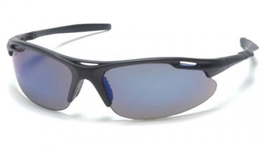 Pyramex Avante Safety Glasses ~ Black Frame ~ Blue Mirror Lens