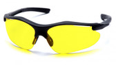 Pyramex Fortress Safety Glasses ~ Black Frame ~ Amber Lens
