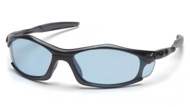 Pyramex Solara Safety Glasses ~ Black Frame ~ Infinity Blue Lens