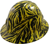 Hydro Dipped Full Brim Hard Hat Yellow Tiger Design