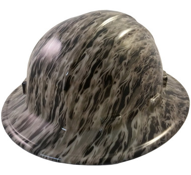 Flames Hydro Dipped GLOW IN THE DARK Hard Hats Full Brim Style with Ratchet Suspensions