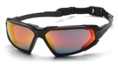 Pyramex Highlander Safety Glasses ~ Black Frame - Sky Red Mirror Anti-Fog Lens