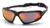 Pyramex Highlander Safety Glasses ~ Black Frame - Sky Red Mirror Anti-Fog Lens