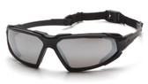 Pyramex Highlander Safety Glasses ~ Black Frame - Silver Mirror Anti-Fog Lens