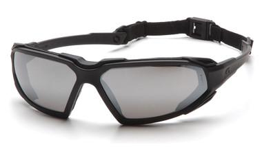Pyramex Highlander Safety Glasses ~ Black Frame - Silver Mirror Anti-Fog Lens