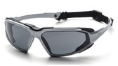 Pyramex Highlander Safety Glasses ~ Silver Frame - Black Gray Anti-Fog Lens