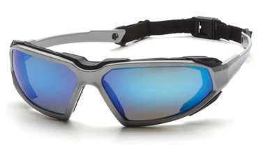 Pyramex Highlander Safety Glasses ~ Silver/Black Frame - Ice Blue Mirror Anti-Fog Lens