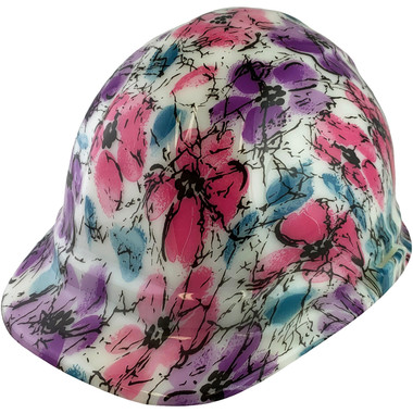 Flower Hydro Dipped GLOW IN THE DARK Hard Hats Cap Style with Ratchet Suspensions