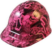 Tattoo Pink Hydro Dipped Hard Hats Cap Style Design - Oblique View