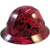 Tattoo Pink Hydro Dipped Hard Hats Full Brim Design - Oblique View