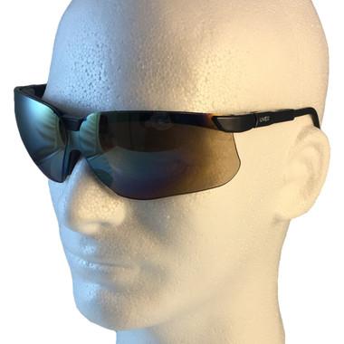 Uvex Genesis Safety Glasses ~ Black Frame ~ Gold Mirror Lens