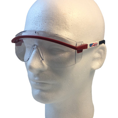 Uvex Astrospec 3000 Glasses ~ Red/White/Blue Frame ~ Clear Lens