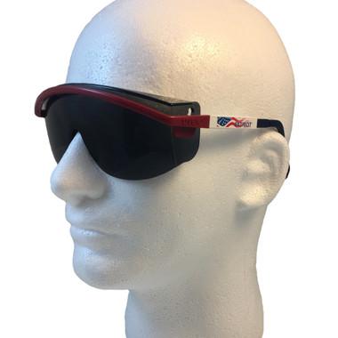 Uvex Astrospec 3000 Glasses ~ Red/White/Blue Frame ~ Smoke Lens
