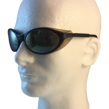 Uvex Bandit Safety Glasses ~ Black Frame ~ Mirror Lens