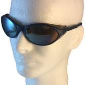 Uvex Bandit Safety Glasses ~ Blue Frame ~ Mirror Lens