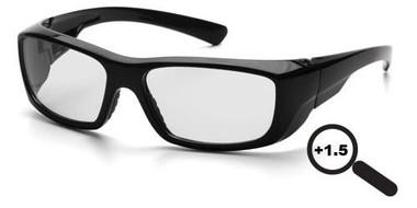 Pyramex Emerge ~ Magnification Glasses ~ Black Frame ~ Clear 1.5 Lens