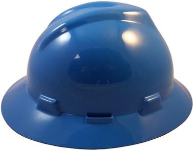 MSA V-Gard Full Brim Hard Hats with Fas-Trac Suspensions Blue