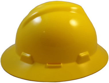 MSA V-Gard Full Brim Hard Hats with Fas-Trac Suspensions Yellow