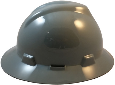 MSA V-Gard Full Brim Hard Hats with Fas-Trac Suspensions Gray