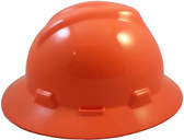 MSA V-Gard Full Brim Hard Hats with Fas-Trac Suspensions Hi Viz Orange