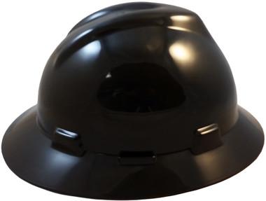 MSA V-Gard Full Brim Hard Hats with Fas-Trac Suspensions Black