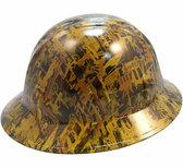 Oilfield Camo Yellow Hydro Dipped Hard Hats Full Brim Style