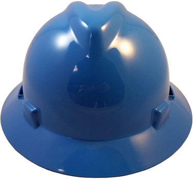 MSA V-Gard Full Brim Hard Hats with Staz-On Suspensions Blue