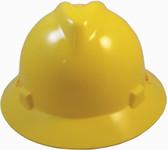 MSA V-Gard Full Brim Hard Hats with Staz-On Suspensions Yellow