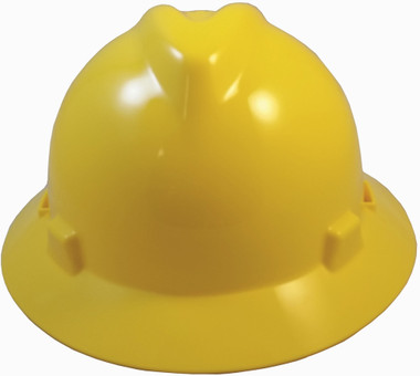 MSA V-Gard Full Brim Hard Hats with Staz-On Suspensions Yellow