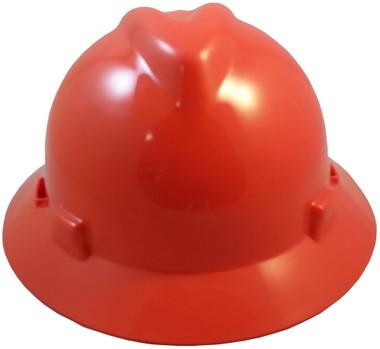 MSA V-Gard Full Brim Hard Hats with Staz-On Suspensions Standard Orange