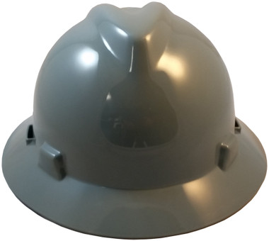 MSA V-Gard Full Brim Hard Hats with Staz-On Suspensions Gray