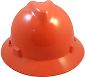 MSA V-Gard Full Brim Hard Hats with Staz-On Suspensions Hi Viz Orange
