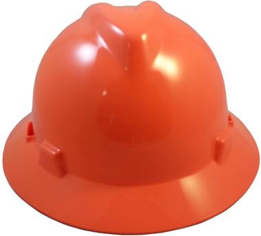 MSA V-Gard Full Brim Hard Hats with Staz-On Suspensions Hi Viz Orange