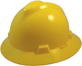 MSA V-Gard Full Brim Hard Hats with One-Touch Suspensions Yellow